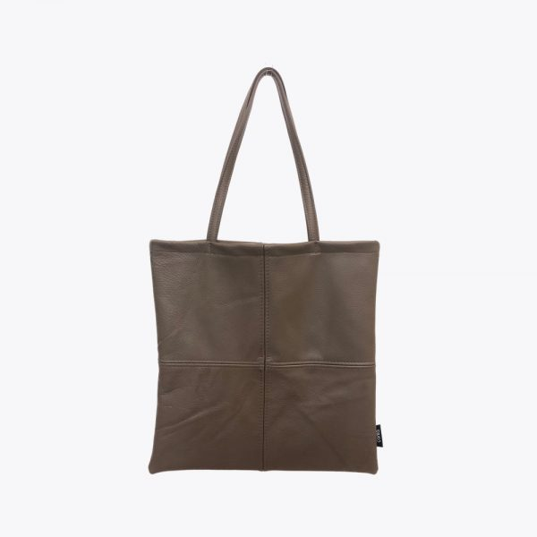 Brown leather square totebag