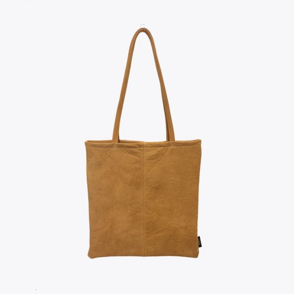 Pastel yellow leather totebag