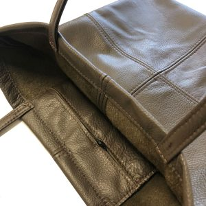 Brown leather square totebag inside