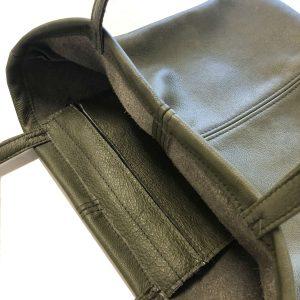 Chrome green leather totebag inside